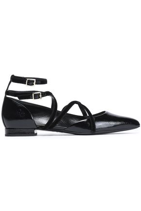 LANVIN Velvet-trimmed patent-leather point-toe flats
