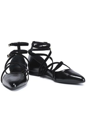 LANVIN Velvet-trimmed patent-leather point-toe flats