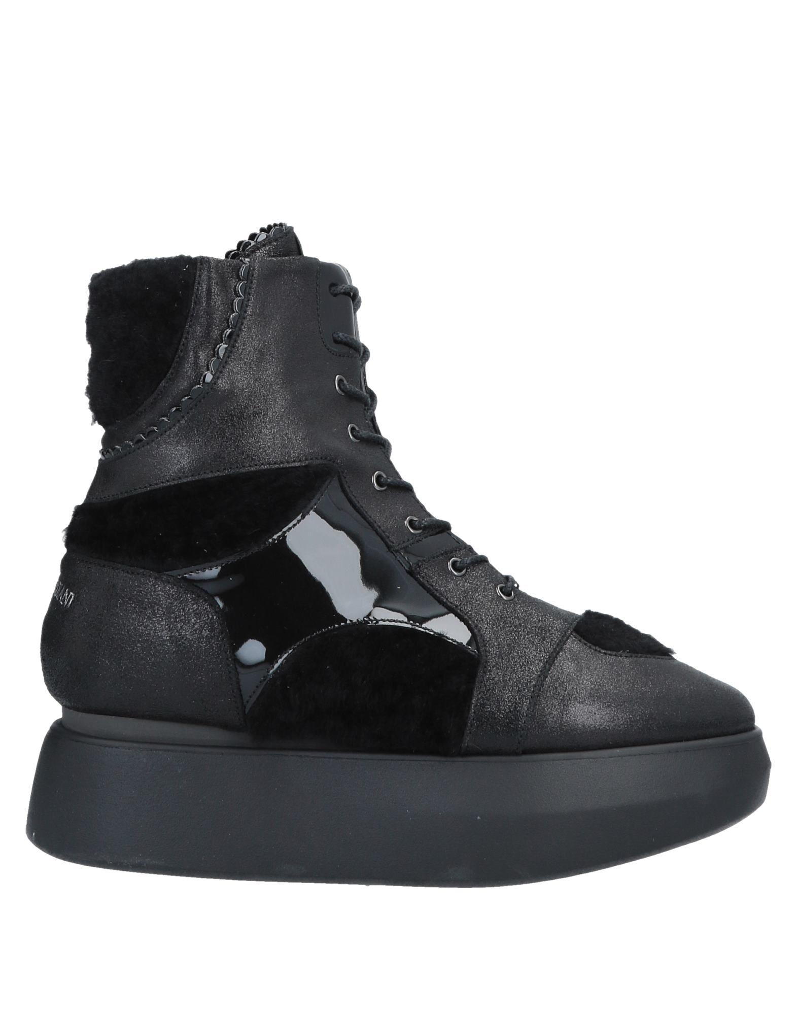 《送料無料》ALBERTO GUARDIANI レディース ショートブーツ ブラック 37 革 / 紡績繊維 / 羊革(ラムスキン)