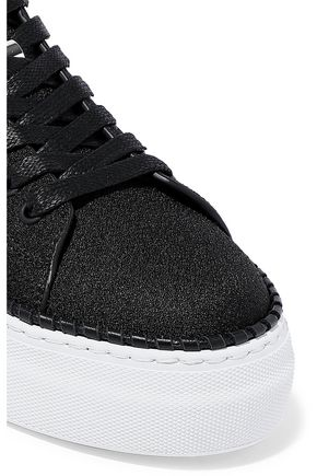 BUSCEMI Leather-trimmed woven sneakers