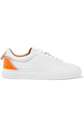 BUSCEMI Embellished suede-trimmed textured-leather sneakers
