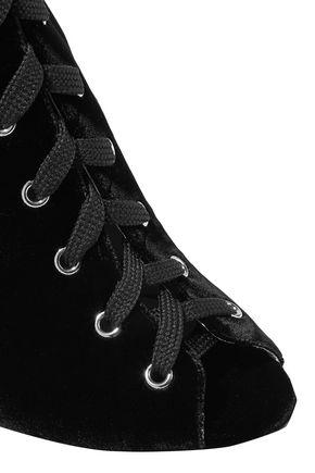 GIAMBATTISTA VALLI Lace-up velvet boots