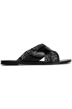 LANVIN Metallic tweed and patent-leather slides