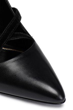 LANVIN Velvet-trimmed leather pumps