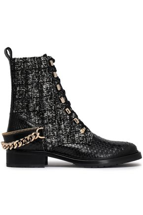 LANVIN Tweed-paneled python boots