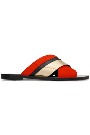 LANVIN Metallic leather and suede slides