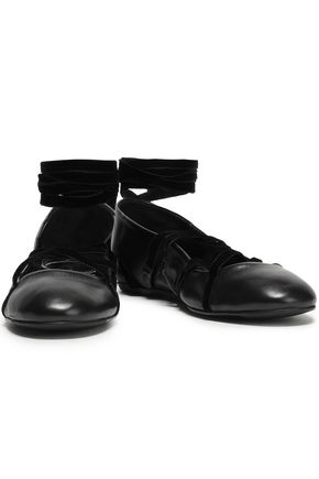 LANVIN Velvet-trimmed leather ballet flats