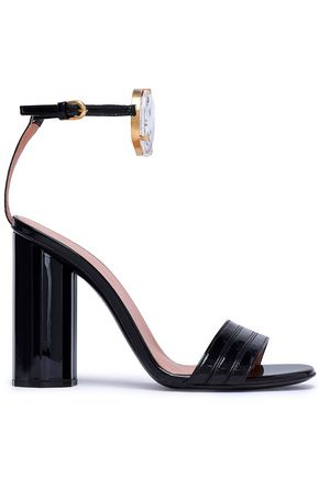 MARCO DE VINCENZO Embellished faux patent-leather sandals