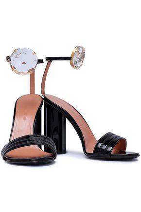 MARCO DE VINCENZO Embellished faux patent-leather sandals