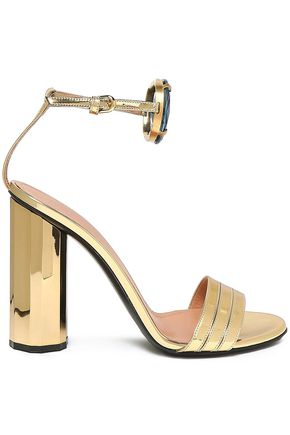 MARCO DE VINCENZO Embellished metallic leather sandals