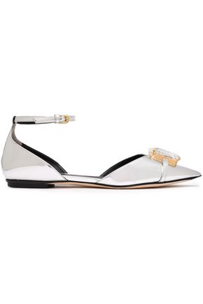 MARCO DE VINCENZO Metallic faux leather slingback pumps