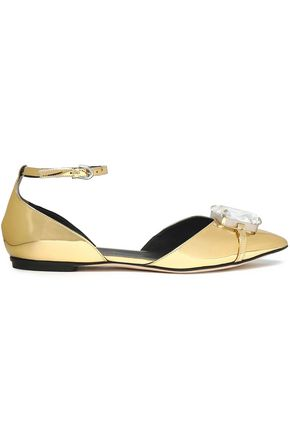 MARCO DE VINCENZO Embellished metallic faux leather point-toe flats