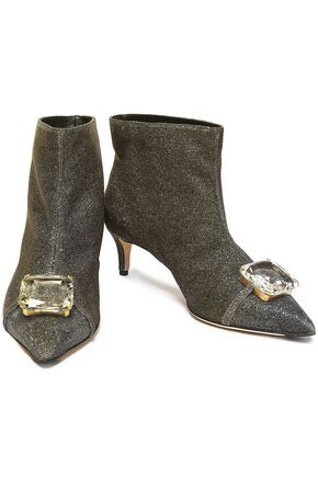 MARCO DE VINCENZO Embellished metallic knitted ankle boots