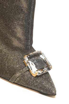 MARCO DE VINCENZO Embellished iridescent lamé ankle boots