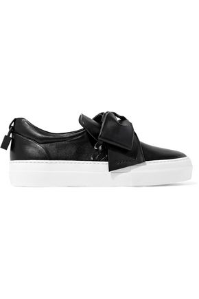 Buscemi BUSCEMI WOMAN EMBELLISHED LEATHER SLIP-ON SNEAKERS BLACK