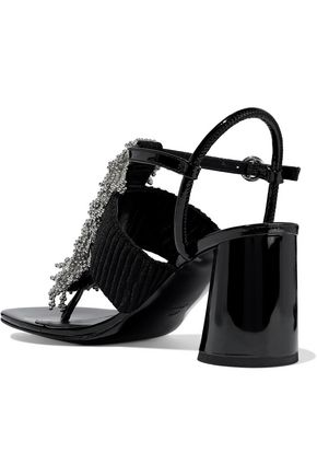 3.1 PHILLIP LIM Bead-embellished ribbed-knit and patent-leather sandals