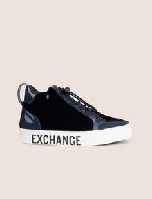 ARMANI EXCHANGE VELVET AND PATENT FINISH HIGH-TOP SNEAKER Sneaker [*** pickupInStoreShipping_info ***] f