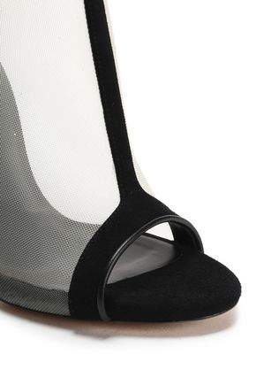 CASADEI Suede-trimmed mesh ankle boots