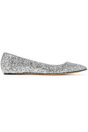 CASADEI Glittered woven point-toe flats