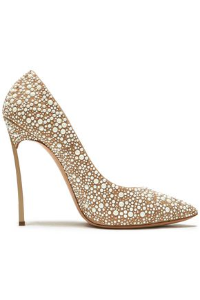 CASADEI Crystal-embellished leather pumps