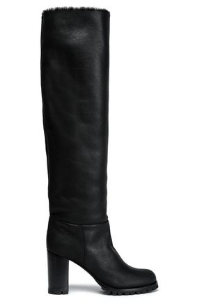 CASADEI Shearling-lined leather knee boots
