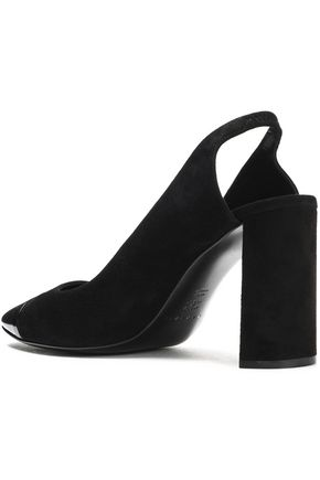 CASADEI Patent-leather and suede-paneled slingback pumps