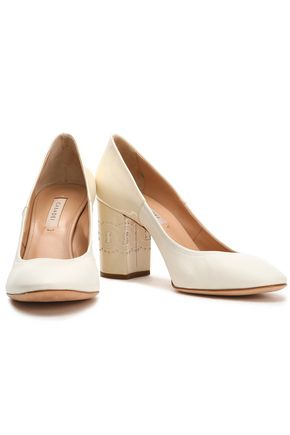 CASADEI Smooth and patent leather-paneled pumps