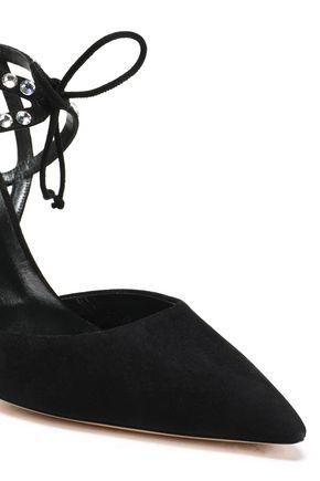 CASADEI Crystal-embellished suede pumps