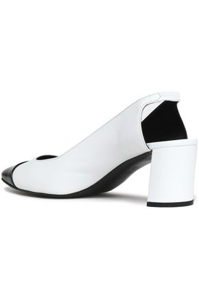 CASADEI Two-tone patent-trimmed leather pumps