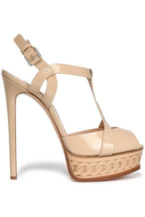 CASADEI Cutout patent-leather platform sandals