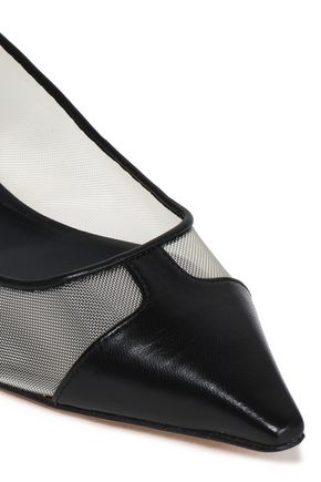 CASADEI Mesh and leather-paneled point-toe flats