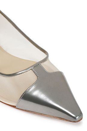 CASADEI Metallic mesh and leather-paneled point-toe flats