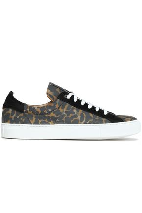 BELSTAFF Suede-trimmed leopard-print leather sneakers