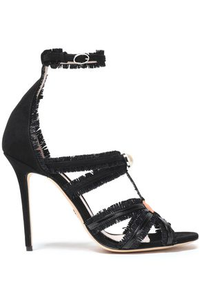 PAULA CADEMARTORI Raffia, suede and patent-leather sandals
