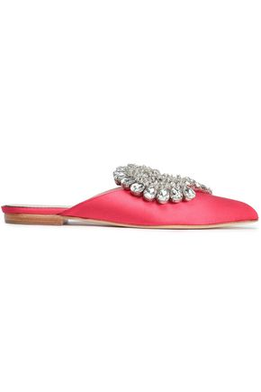 PAULA CADEMARTORI Crystal-embellished satin slippers