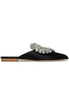 PAULA CADEMARTORI Crystal-embellished satin slippers