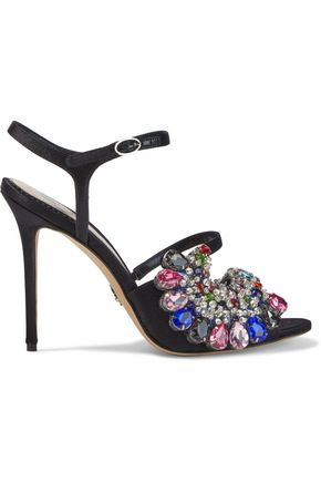 PAULA CADEMARTORI Embellished satin sandals