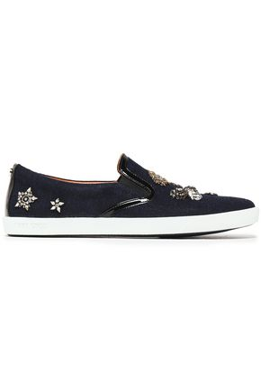 JIMMY CHOO Embellished patent leather-trimmed wool slip-on sneakers