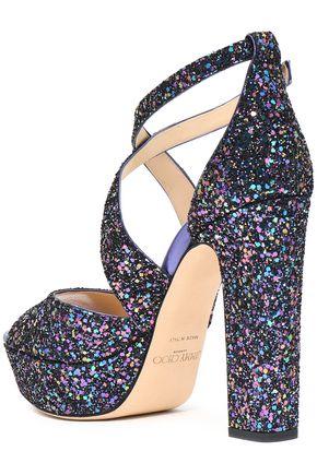 JIMMY CHOO April glittered leather platform sandals