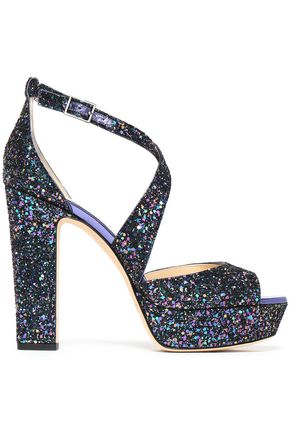 JIMMY CHOO April glittered leather platform sandals
