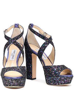 3514ea06bb9 JIMMY CHOO April glittered leather platform sandals