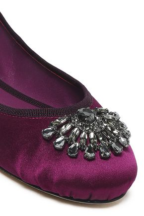 JIMMY CHOO Grace crystal-embellished satin ballet flats