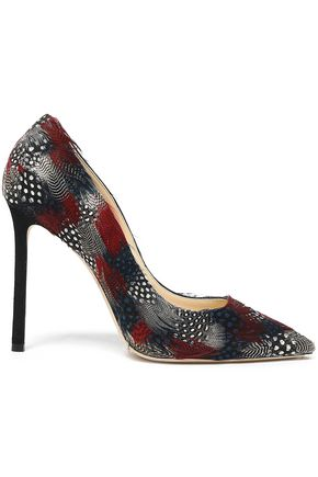 JIMMY CHOO Feather-embellished suede pumps