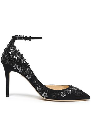 JIMMY CHOO Floral-appliquéd suede pumps