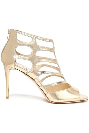 JIMMY CHOO Metallic cutout leather sandals