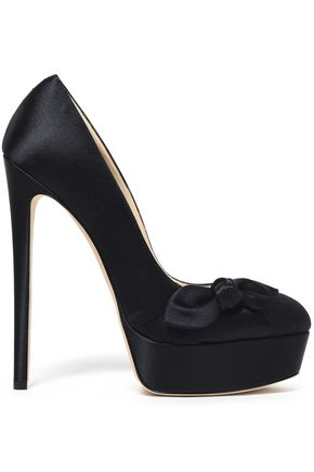 JIMMY CHOO Bow-embellished satin platform pumps