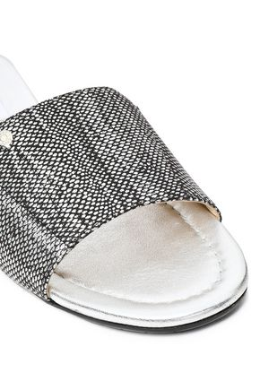 JIMMY CHOO Metallic textured-leather slides