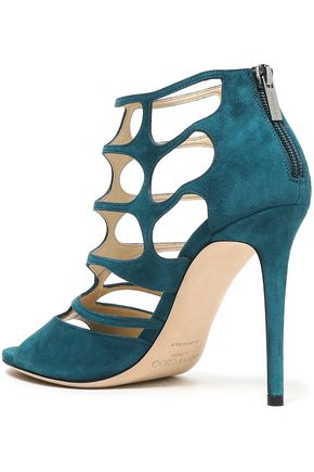 JIMMY CHOO Ren 100 cutout suede sandals