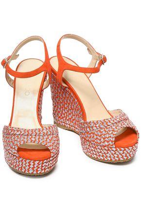 JIMMY CHOO Perla 120 suede and metallic woven wedge sandals