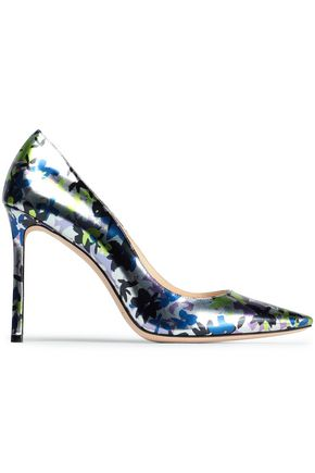 JIMMY CHOO Floral-print metallic leather pumps